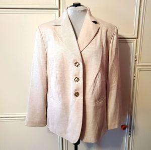 Levine Shell Pink Plus Size Blazer w/ MoP Buttons